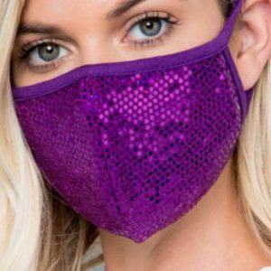 3/$60 *NEW* Purple Sequin Face Mask 3/$50